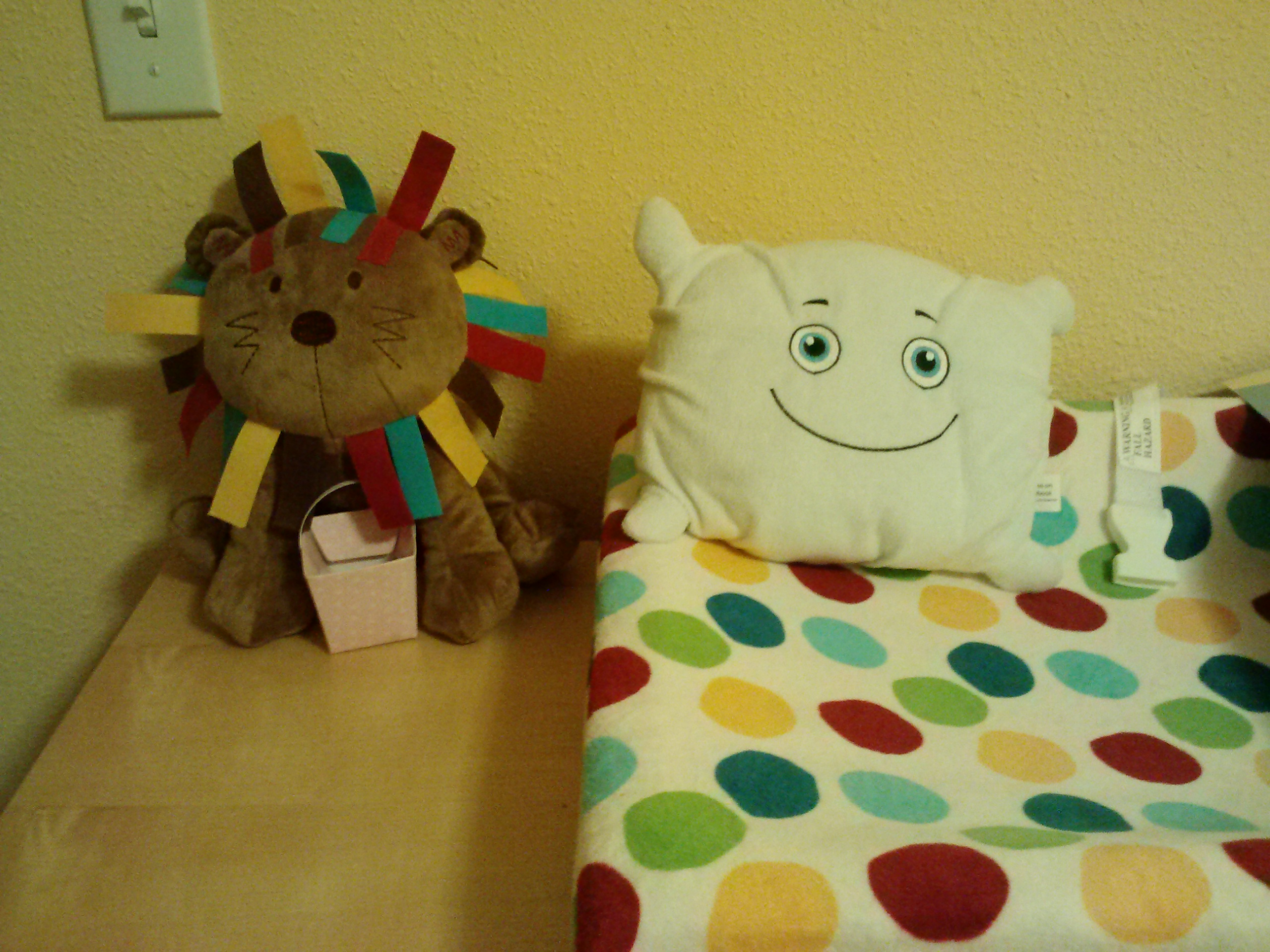 McStuffy O'Fluffigan is looking cute as ever while helping tidy up the baby changing table