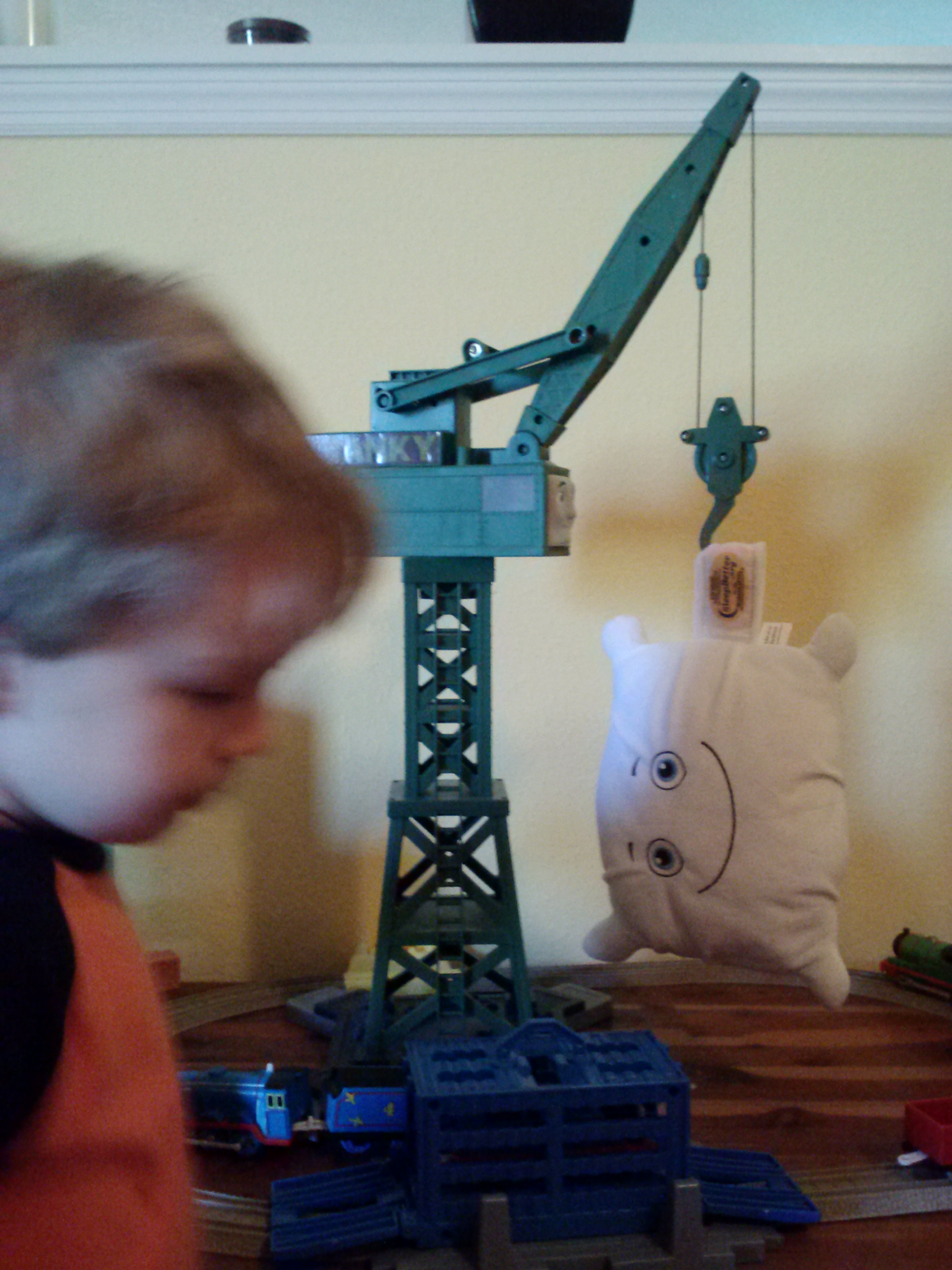 Getting a lift from Cranky the Crane