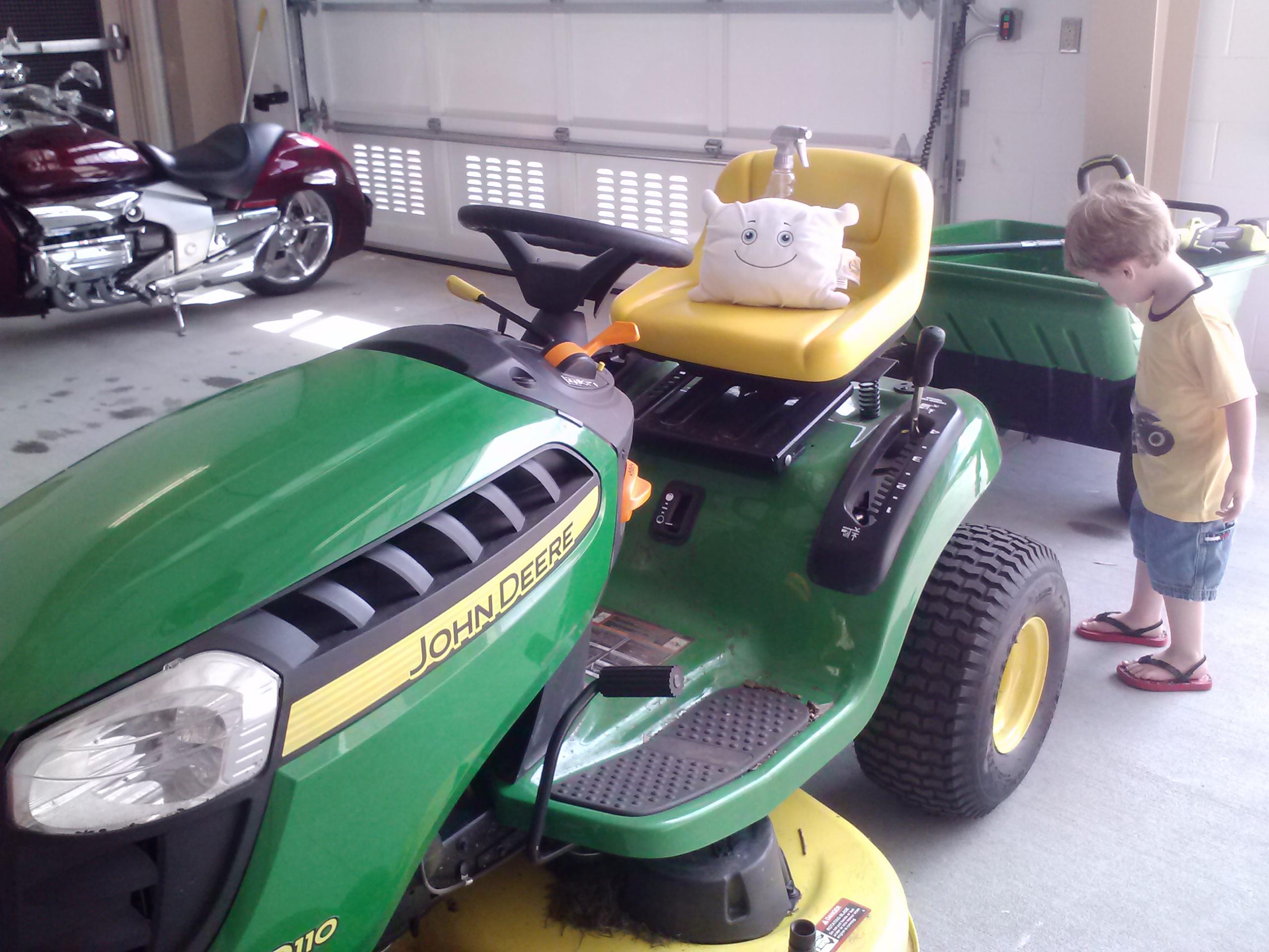 McStuffy checks out the firehouse lawn mower