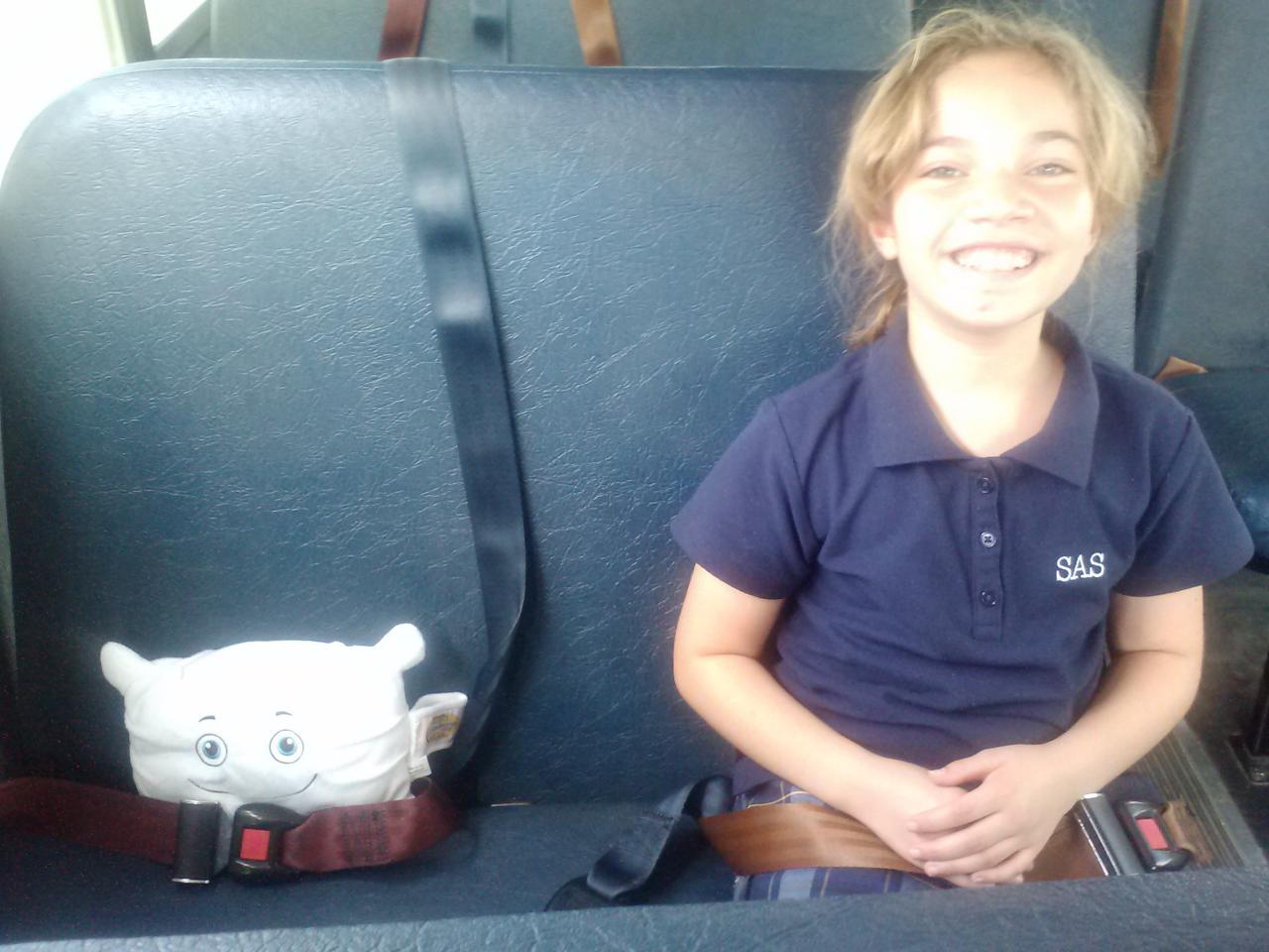 Buckled in and ready to go to school