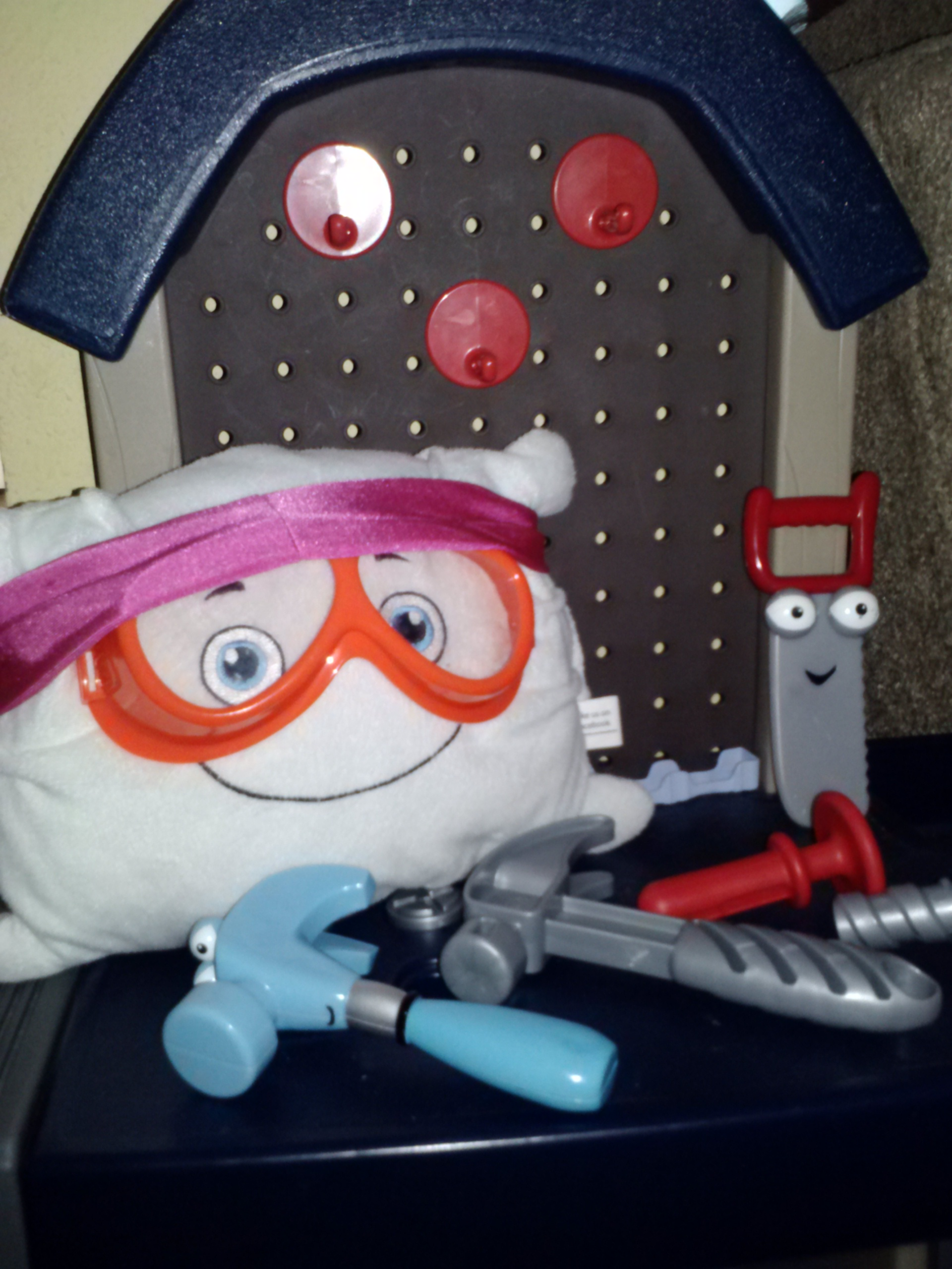 McStuffy in the work shop. Safety first!