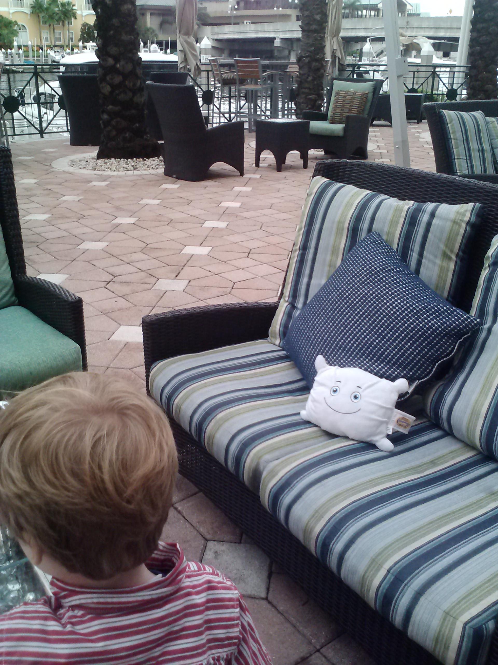 McStuffy likes the patio at grandma and grandpa's hotel.