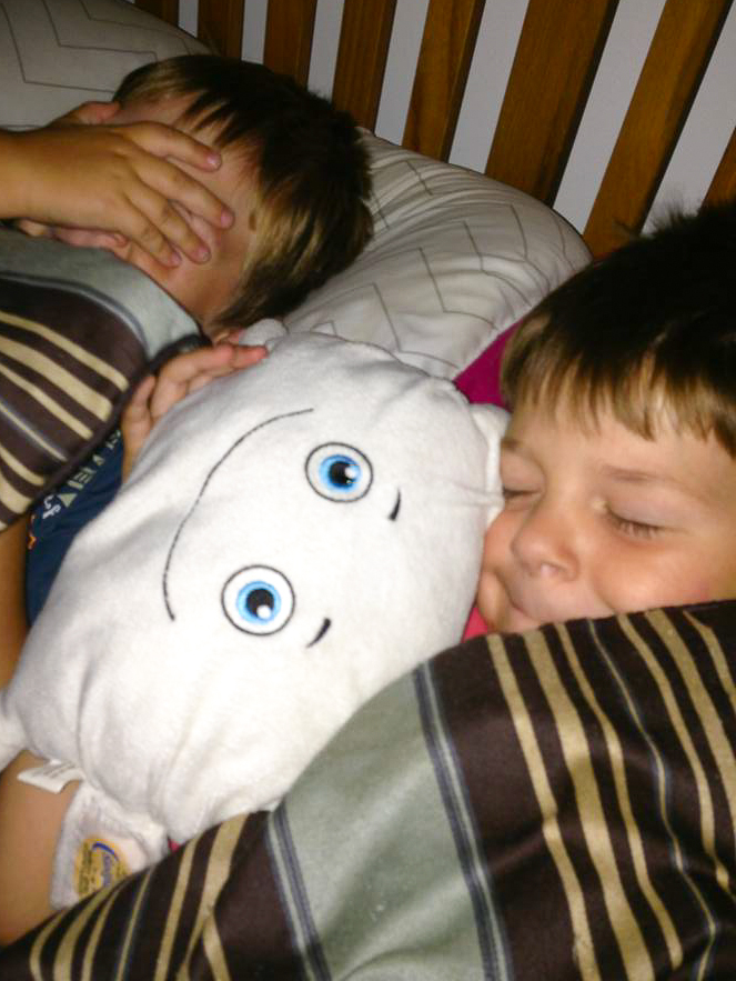 Pillow Featherbed having a sleepover with Caden and Brady