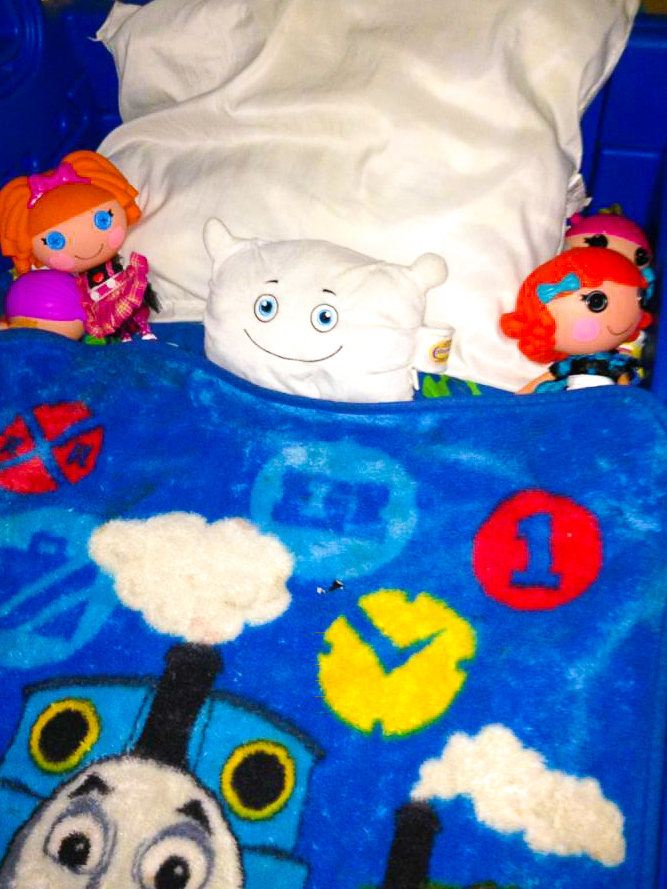 Pillow Featherbed hiding in Brady's bed!