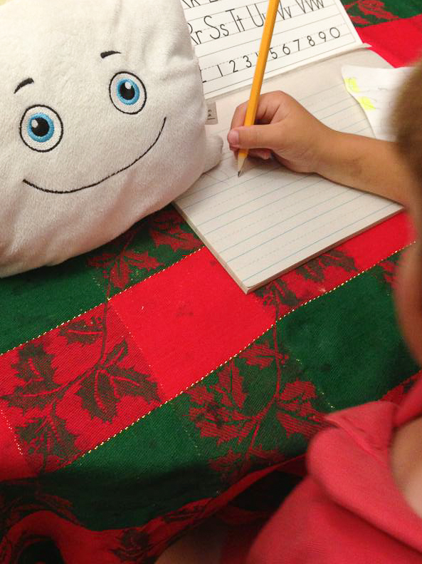 Pillow Featherbed helping out with homework!