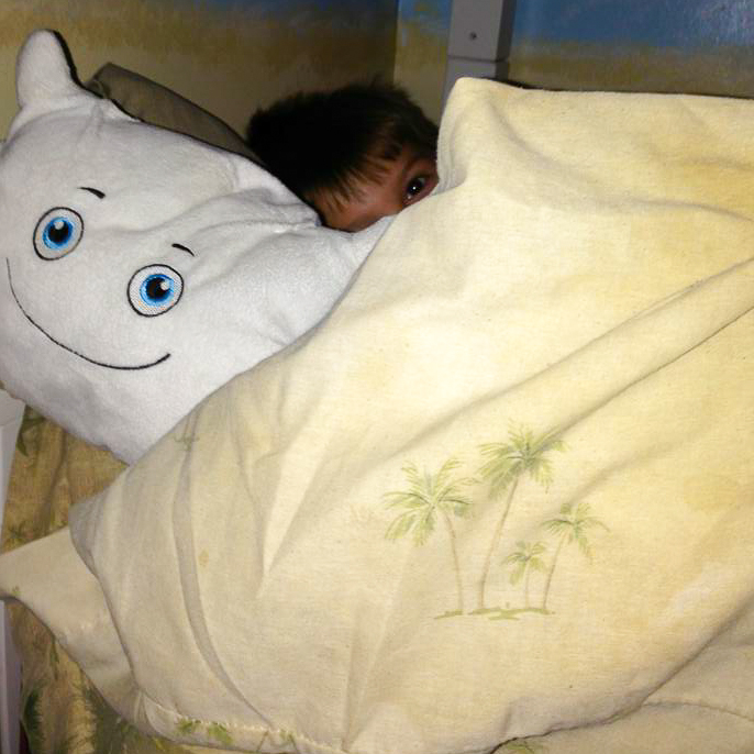 Pillow Featherbed's part of Caden's pillow fort!