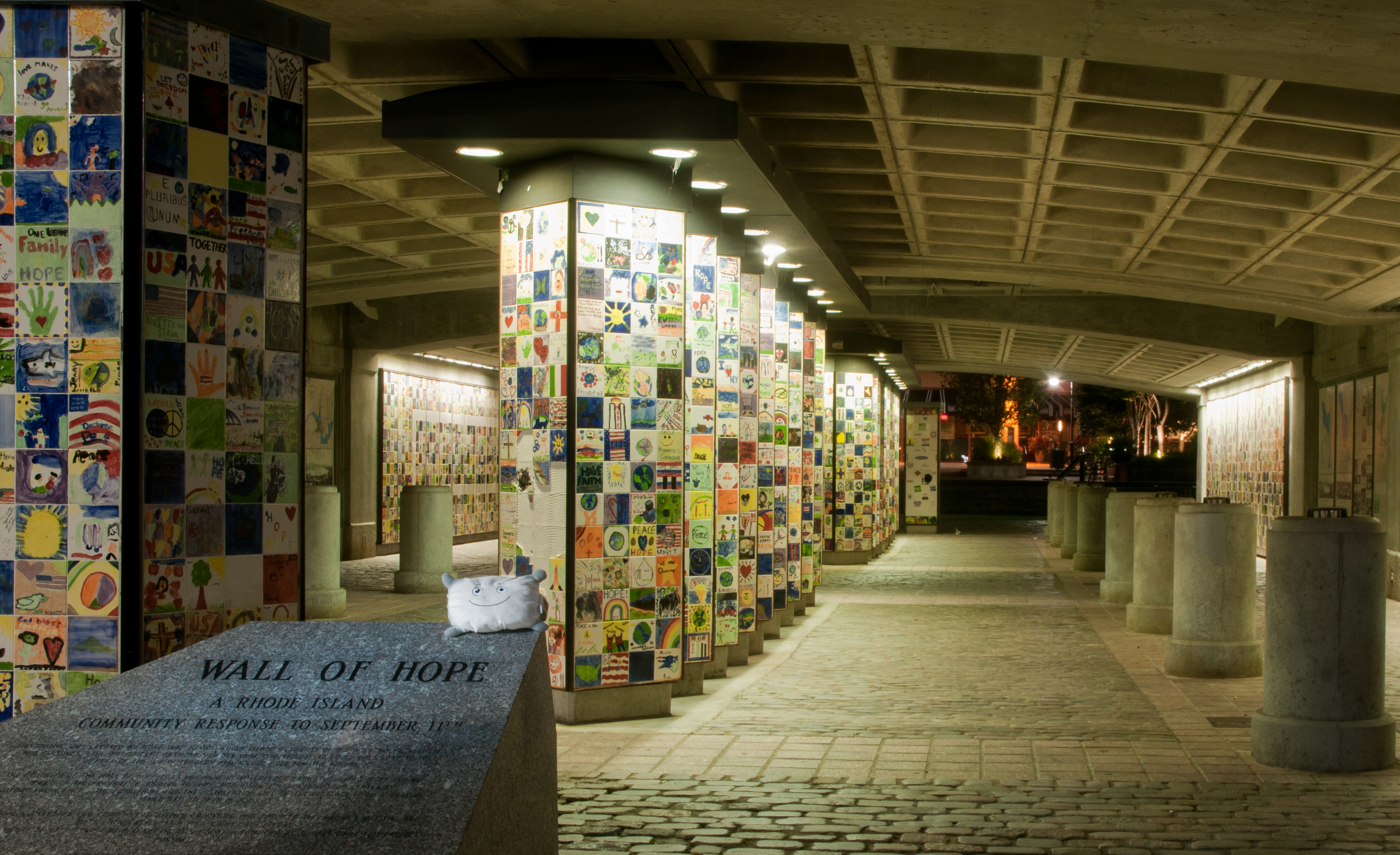 Pillow Featherbed at the Wall of Hope, a 9/11 memorial in Providence RI