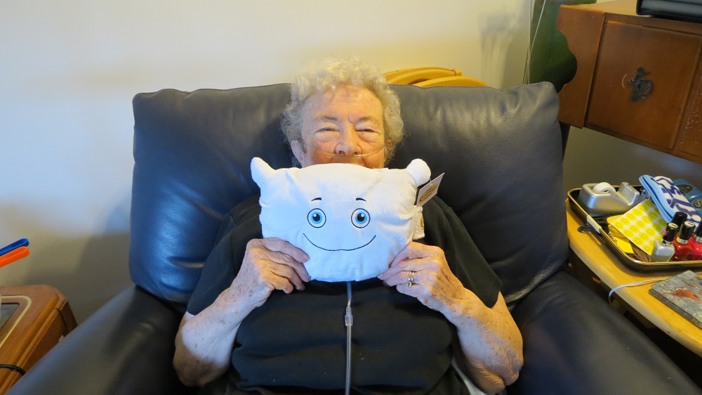 Phil O.T. Pillow visits with Grandma