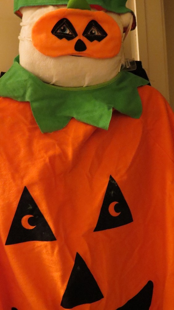 Phil O. tries on his Halloween costume. BOO!