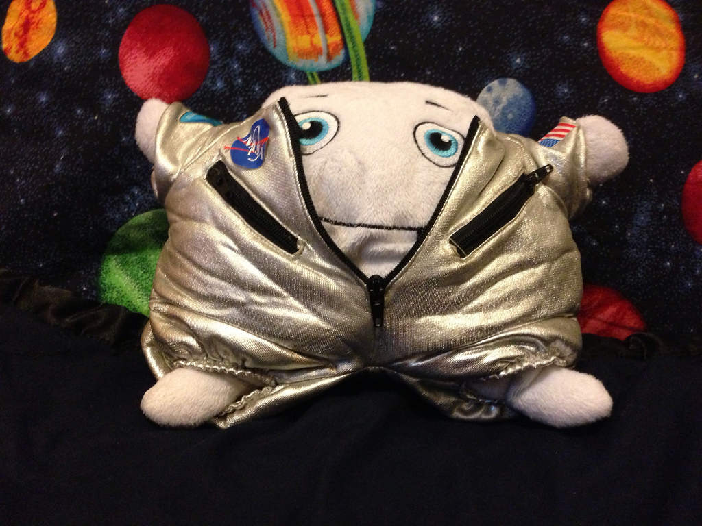 Trying on Space Bear's suit