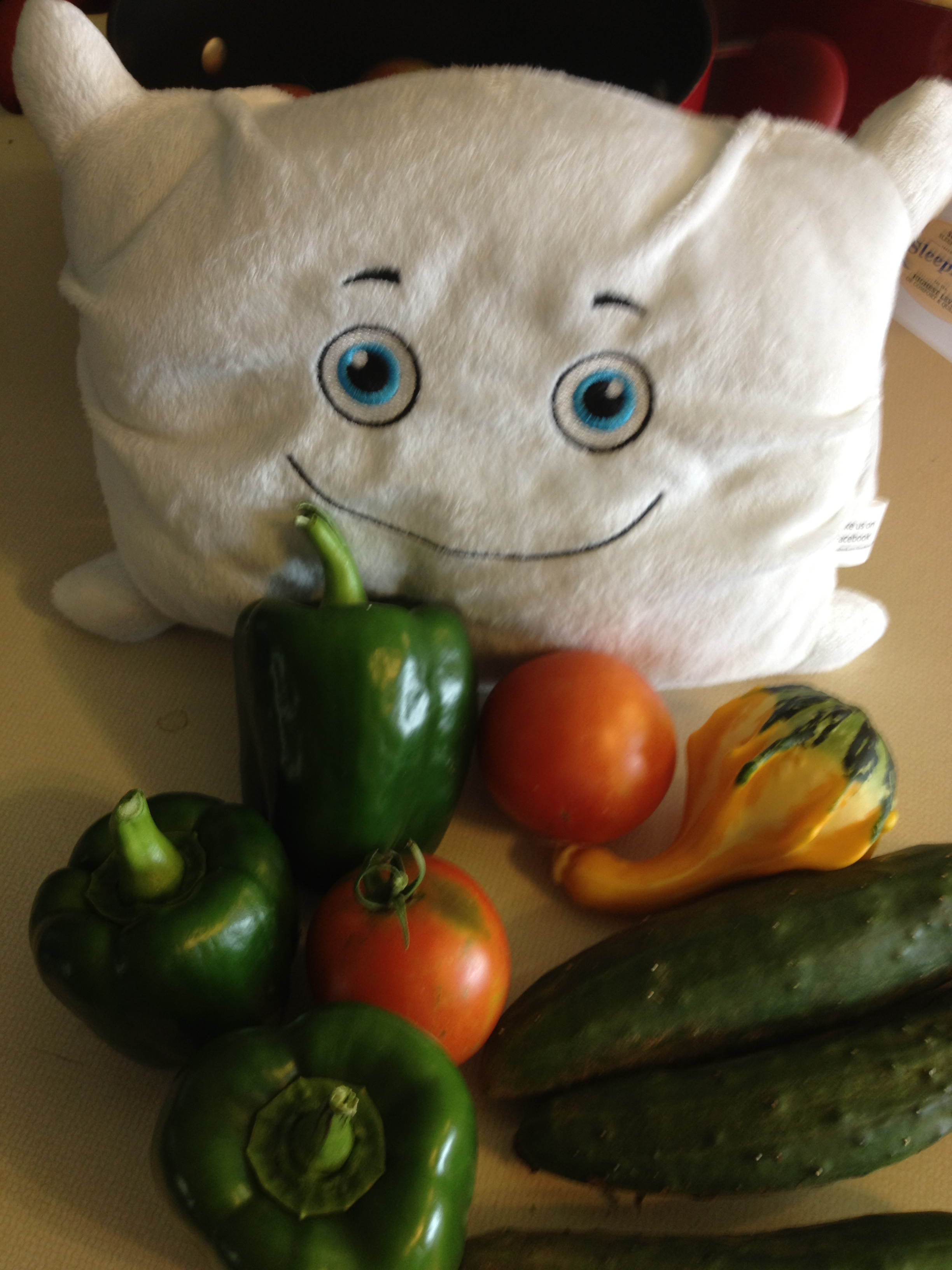 Fred Pillow gathers veggies from the garden
